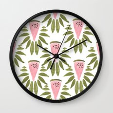 Watermelon and Leaves Wall Clock