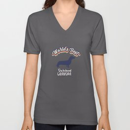 Worlds Best Dachshund GRANDPA Unisex V-Neck