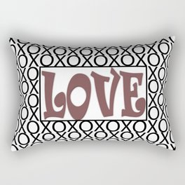 Pantone Red Pear LOVE XOs (Hugs and Kisses) Typography Art Rectangular Pillow