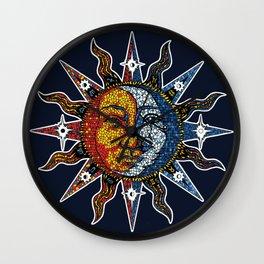 Celestial Mosaic Sun and Moon Wall Clock