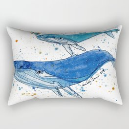 Whale Mommy and Baby Rectangular Pillow