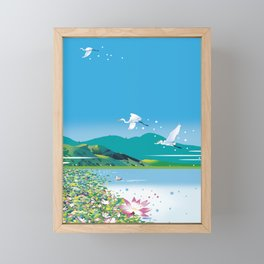 Water lily pond and heron Framed Mini Art Print