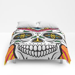 High Rolling In Your Face Dias De Los Muertos Smiling Skull Comforters