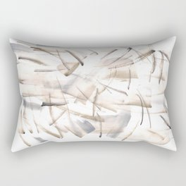 180630 Grey Black Neutral Brown Abstract Watercolour 5| Watercolor Brush Strokes Rectangular Pillow