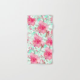 Hot pink turquoise hand painted watercolor floral Hand & Bath Towel