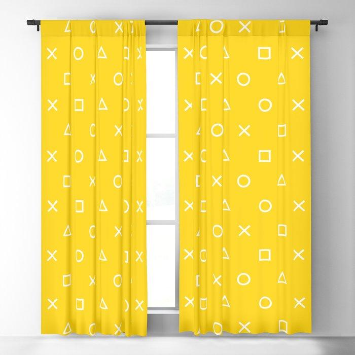 Yellow Gamer Pattern Blackout Curtain