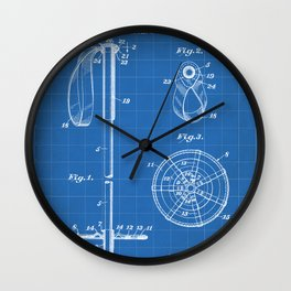 Skiing Patent - Skier Art - Blueprint Wall Clock