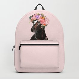 Horse with Flowers Crown in Pink Backpack