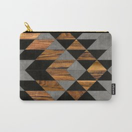 Urban Tribal Pattern No.10 - Aztec - Concrete and Wood Carry-All Pouch