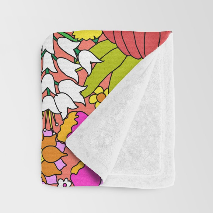 60's Groovy Garden in Neon Peach Coral Throw Blanket