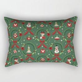 Winter Friends (Green) Rectangular Pillow
