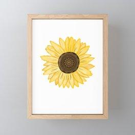 Mandala Sunflower Natural Watercolor Pattern Framed Mini Art Print