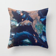 Color Commentary #14: Patina (Blue & Copper, Painter's Choice) [Debi Vaught-Thelin] Throw Pillow