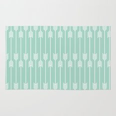 White Arrows on Mint Rug