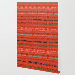Navajo motifs in red Wallpaper