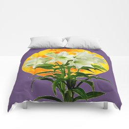 EASTER LILIES ON LILAC GOLDEN MOON ABSTRACT Comforters