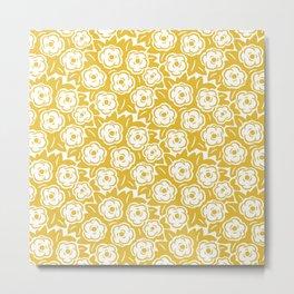 Flower Bouquet Pattern Mustard Yellow Metal Print