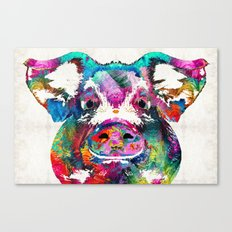 Colorful Pig Art - Squeal Appeal - By Sharon Cummings Canvas Print