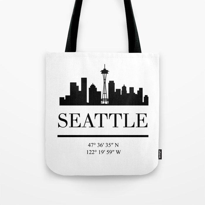 SEATTLE WASHINGTON BLACK SILHOUETTE SKYLINE ART Tote Bag