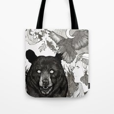 Bear, wolf, pike and falcon Tote Bag