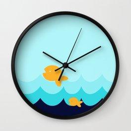 Beach Series Aqua- Gold Fish Animals in the deep See Wall Clock