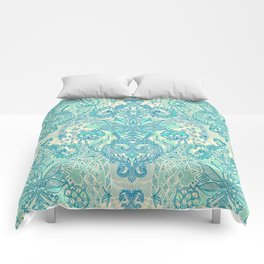 Botanical Geometry - nature pattern in blue, mint green & cream Comforters
