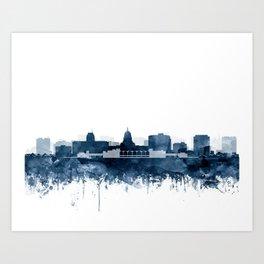 Madison Skyline Watercolor Navy Blue by Zouzounio Art Art Print