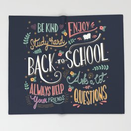 Back to school colorful typography drawing on blackboard with motivational messages, hand lettering Throw Blanket