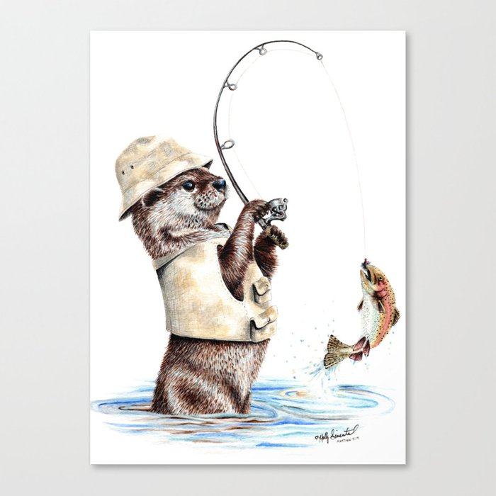 """"""" Natures Fisherman """" fishing river otter with trout Leinwanddruck"""