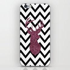 Pink Glitter Deer Chevron iPhone & iPod Skin