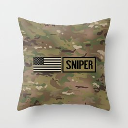 Military: Sniper (Camo) Throw Pillow
