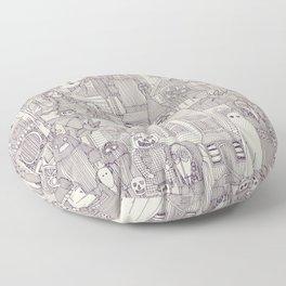 vintage halloween purple ivory Floor Pillow