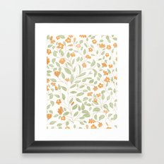 Spring Orange Floral Pattern Framed Art Print
