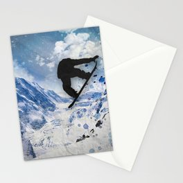 Snowboarder In Flight Stationery Cards