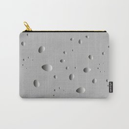 Convex drops and petals on a gray background in nacre. Carry-All Pouch