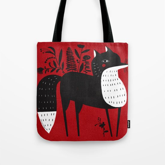 BLACK & WHITE FOX Tote Bag