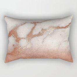 Shiny Copper Metal Foil Gold Ombre Bohemian Marble Rectangular Pillow