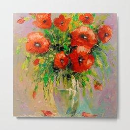 Bouquet of poppies in vase Metal Print