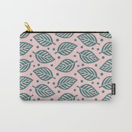 Mid Century Modern Falling Leaves Green Pink 2 Carry-All Pouch