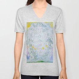 "William Blake ""Illustrations to Dante's Divine Comedy - The Vision of the Deity"" Unisex V-Neck"