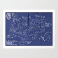 Time Machine Blueprint Art Print