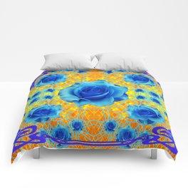 Art Nouveau Blue-golden Roses Abstract Design. Comforters