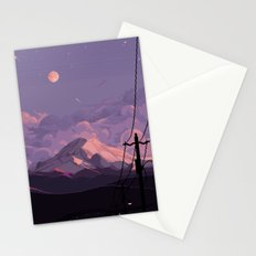 Mt Rainier with Powerlines Stationery Cards