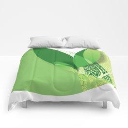 Modern green leaf, environment design Comforters