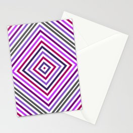 Lilac Grey Colorful Rhomb - Whimsical Psychedelic Retro Geometric Pattern Stationery Cards