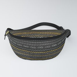 Gold and Silver Tribal Pattern on Black  wood Fanny Pack