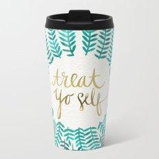 Treat Yo Self – Gold & Turquoise Metal Travel Mug