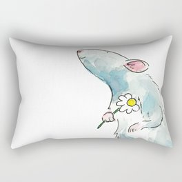 Woodland mouse with a flower Rectangular Pillow