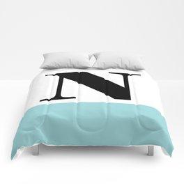 Monogram Letter N-Pantone-Limpet Shell Comforters