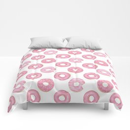 Pink watercolor donut pattern Comforters